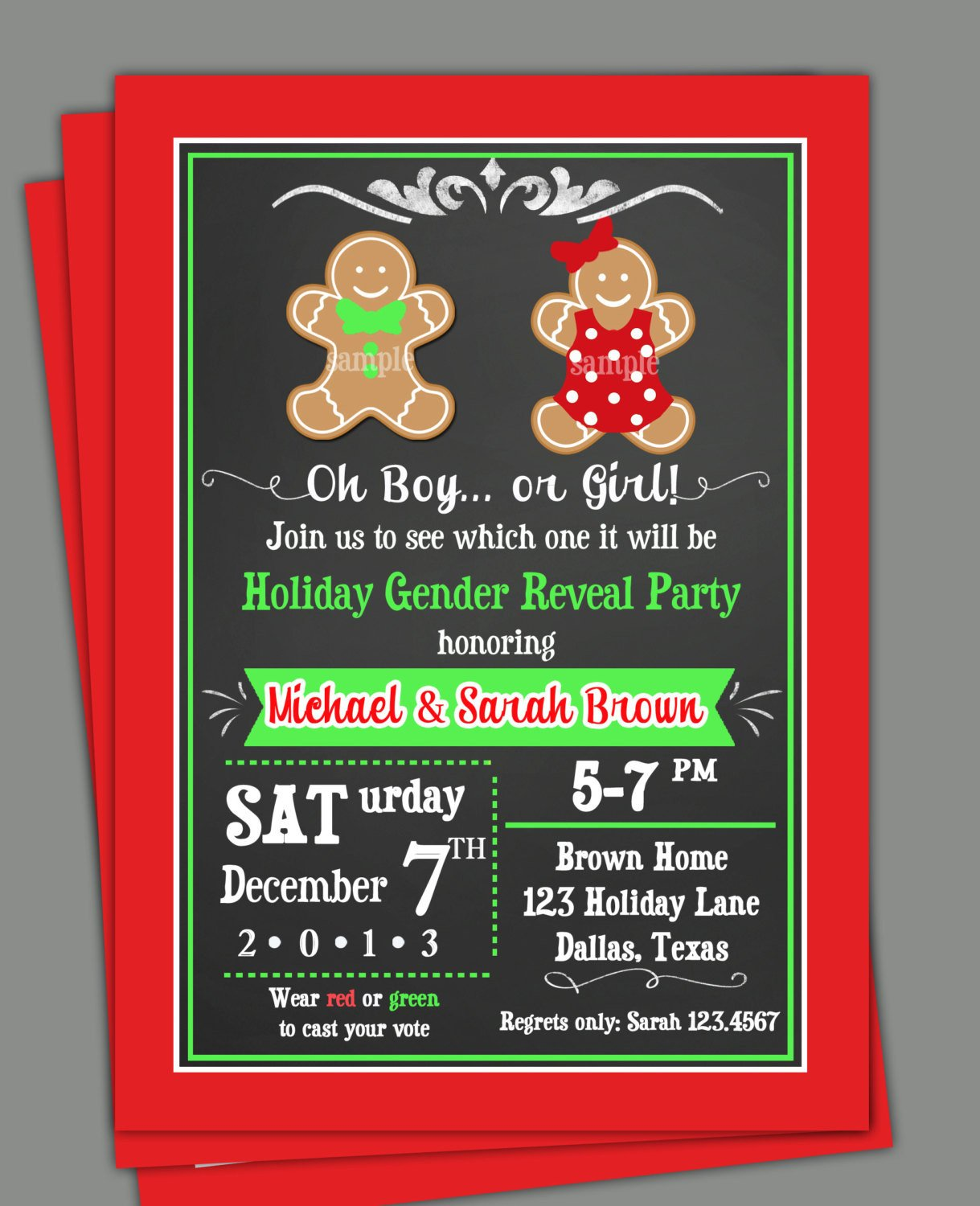 Gender Reveal Invitations Free Christmas Gender Reveal Invitation Printable or Printed with