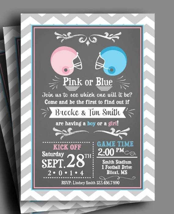 Gender Reveal Invitations Free Football Gender Reveal Invitation Printable or Printed with