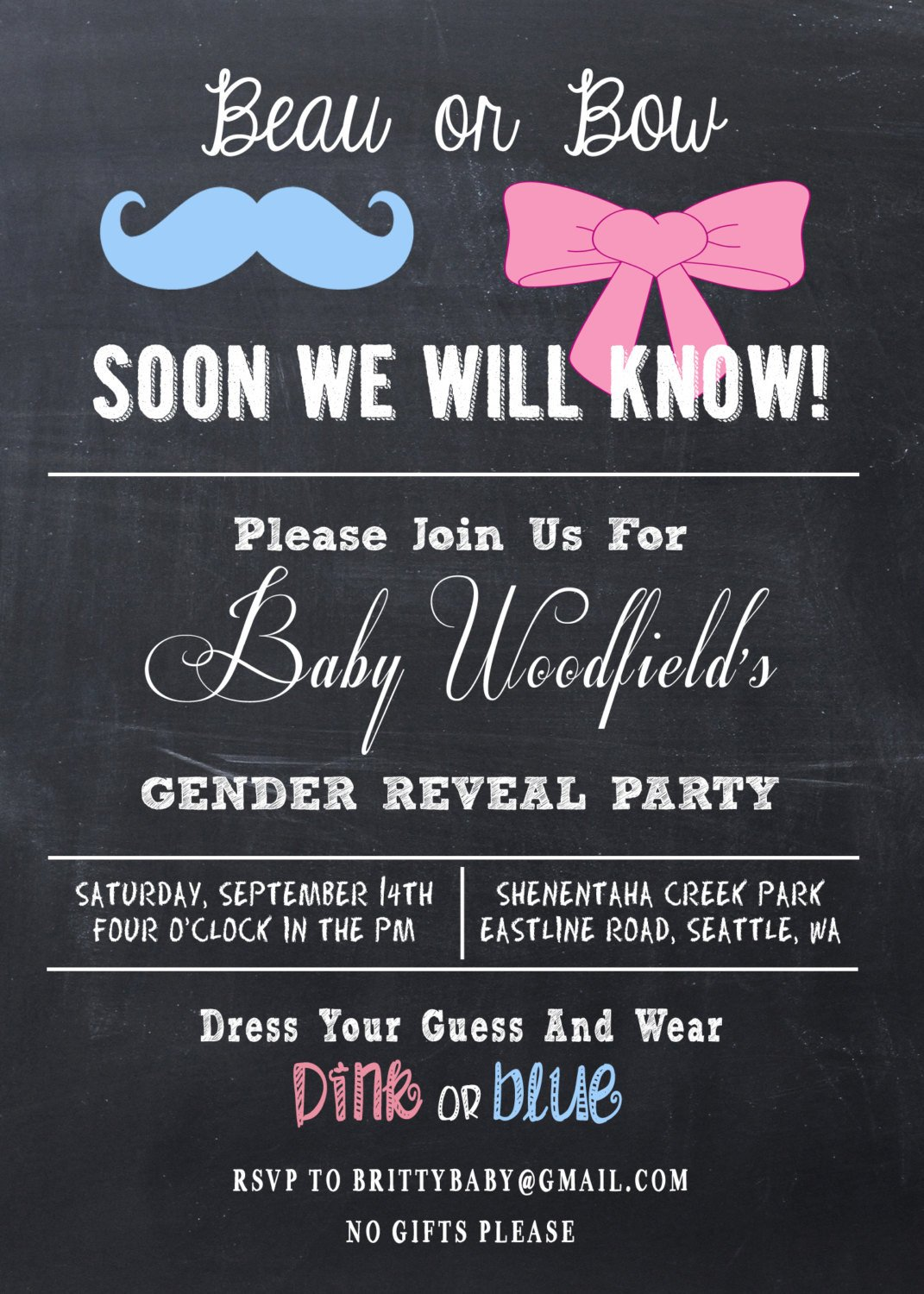 Gender Reveal Invitations Free Gender Reveal Party Invitation Beau or Bow by