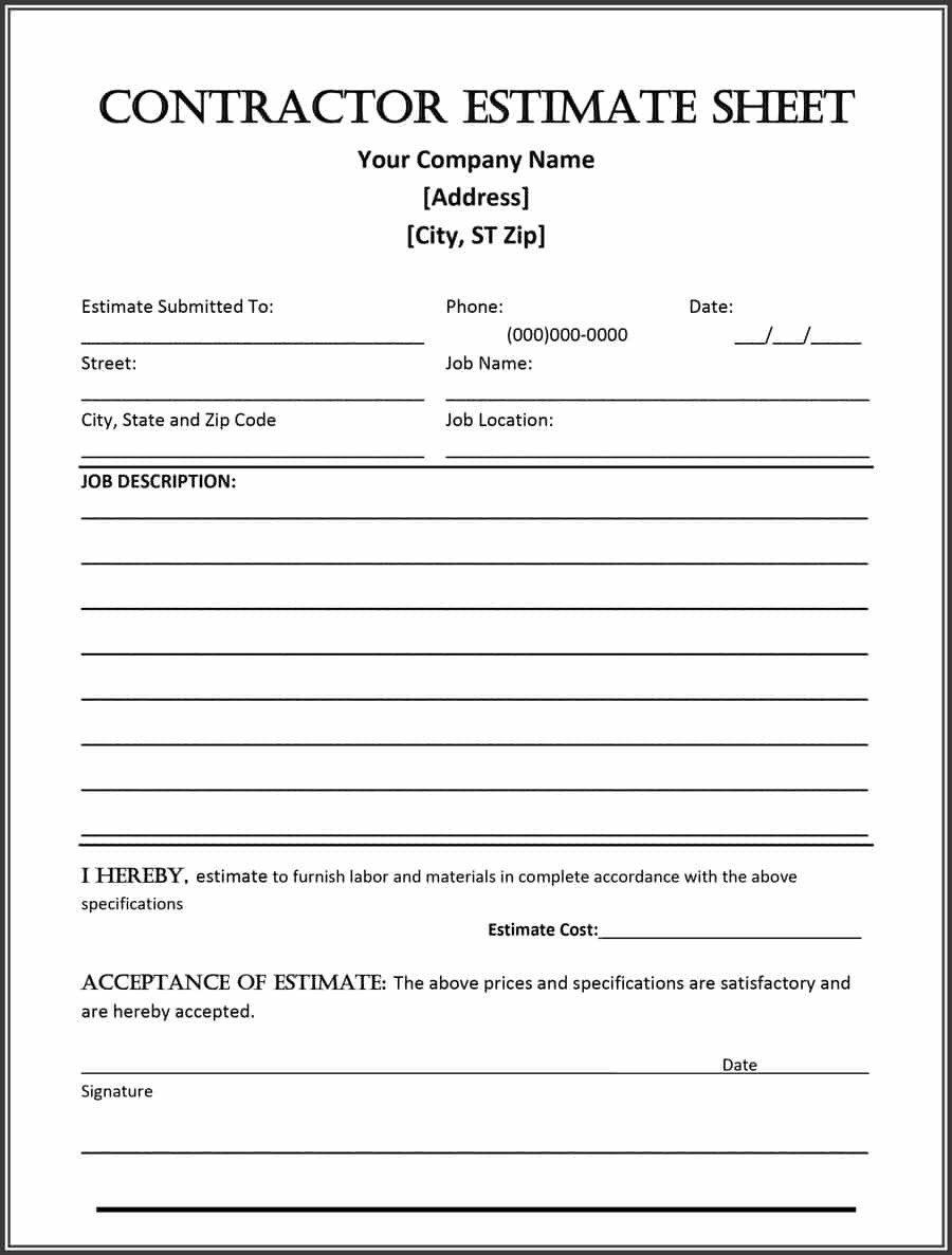General Contractor Checklist Template 44 Free Estimate Template forms [construction Repair