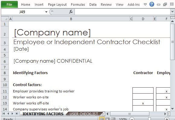 General Contractor Checklist Template Employee Independent Contractor Checklist for Excel