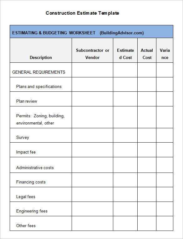 General Contractor Checklist Template Free Construction Estimate Template Excel