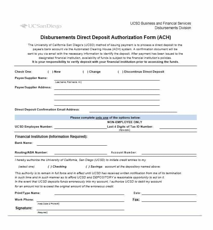 Generic Direct Deposit form 47 Direct Deposit Authorization form Templates Template