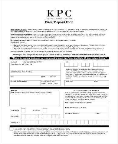 Generic Direct Deposit form Sample Generic Direct Deposit forms 8 Free Documents In Pdf
