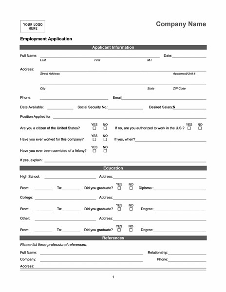 Generic Job Application Template Employment Application Online