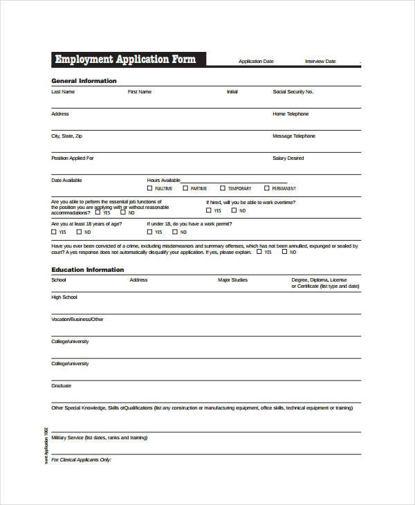 Generic Job Application Template Generic Employment Application Template 8 Free Pdf