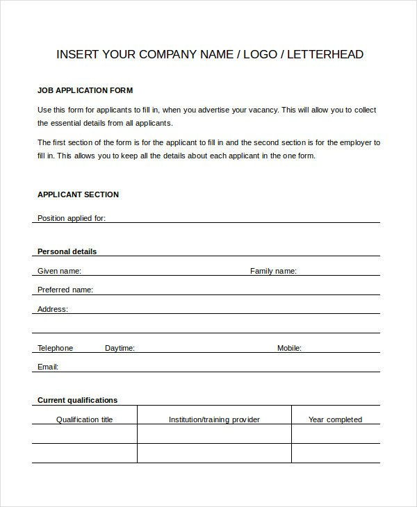 Generic Job Application Template Generic Job Application 8 Free Word Pdf Documents