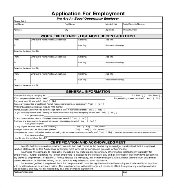 Generic Job Application Template Sample Employment Application forms 12 Free Documents