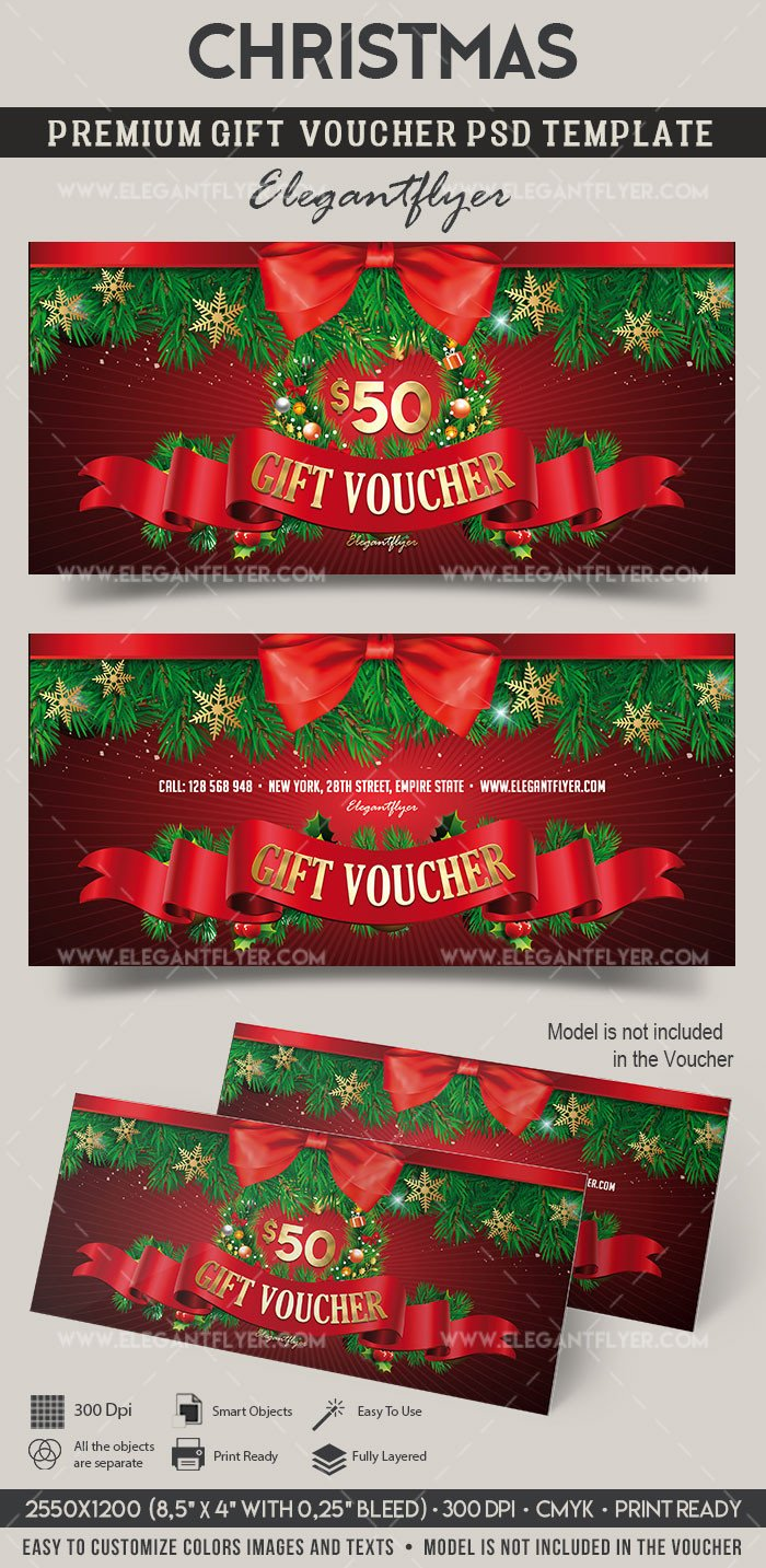 Gift Card Template Psd Christmas – Premium Gift Certificate Psd Template – by
