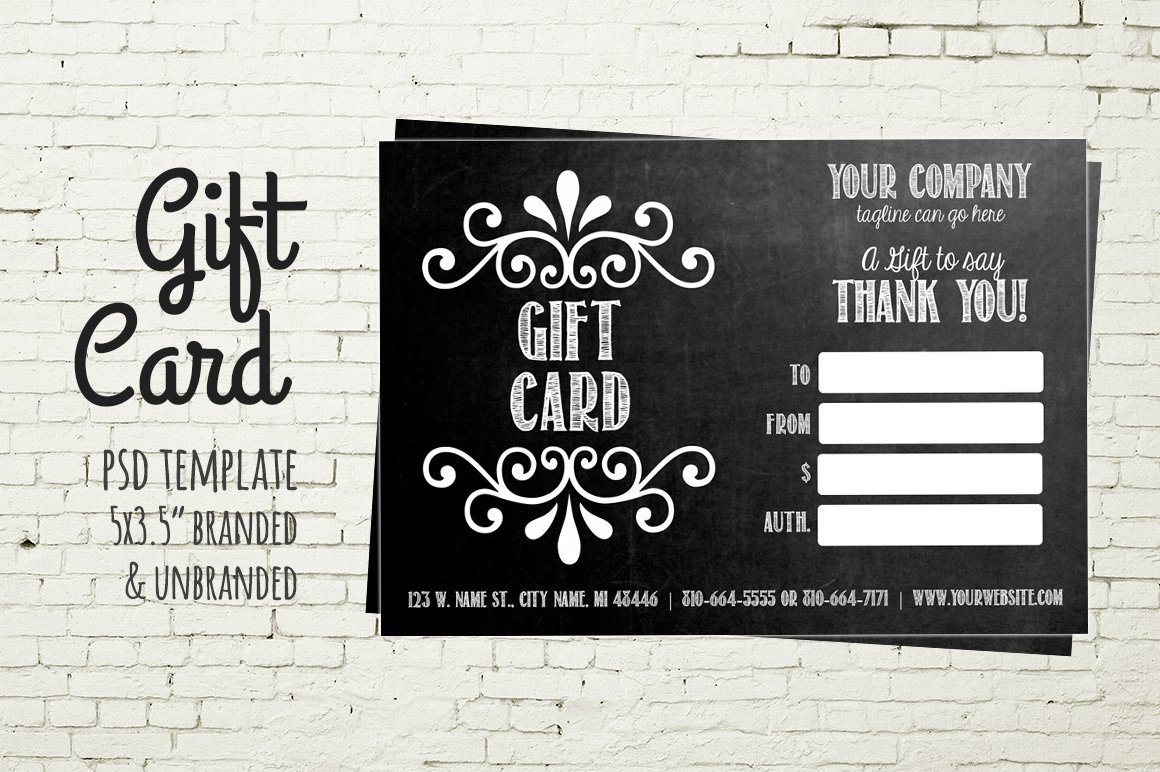 Gift Card Template Psd Gift Card Template Chalkboard Card Business Card