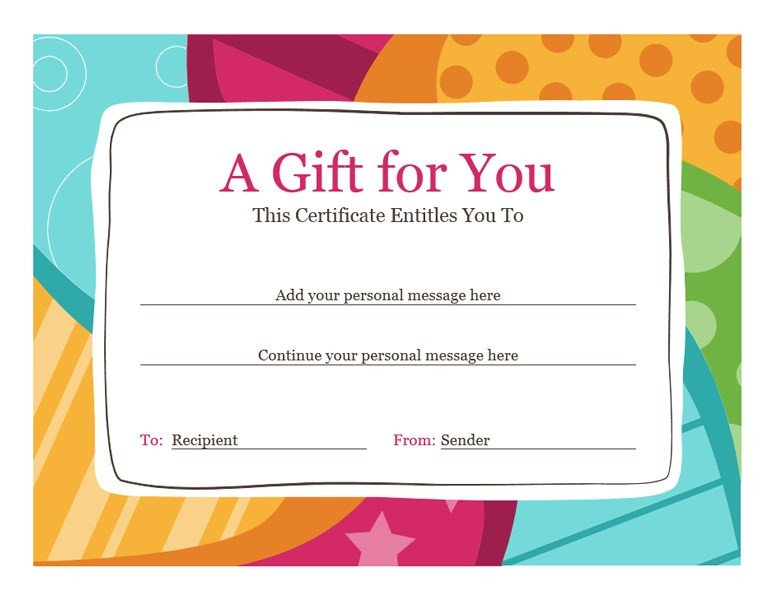 Gift Certificate Template Pages Birthday T Certificate Bright Design