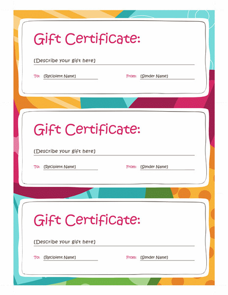 Gift Certificate Template Pages Certificates Fice