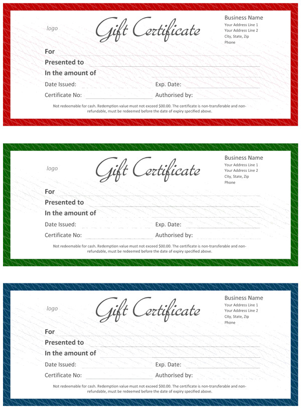 Gift Certificate Template Word Ficial Gift Certificate Template for Word