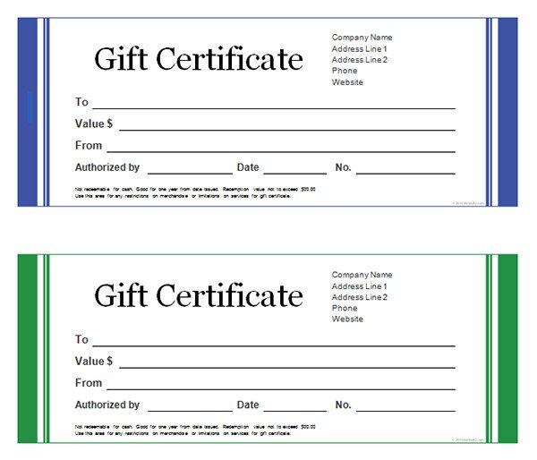 Gift Certificate Template Word Printable Gift Certificate Templates