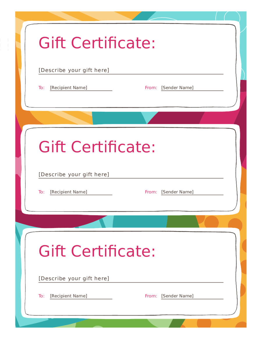 Gift Certificate Templates Free 2018 Gift Certificate form Fillable Printable Pdf