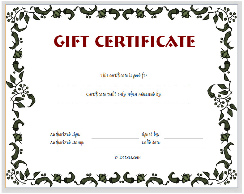 Gift Certificate Templates Free Gift Certificate Template Floral Design Dotxes