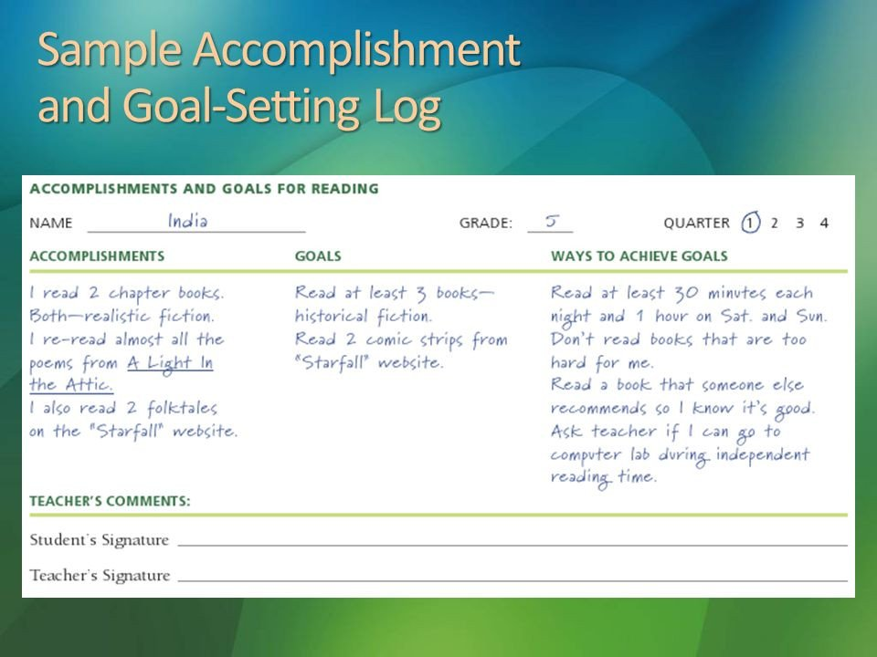 Goals and Accomplishments Template assessment Chapter 3 4 26 2017 4 11 Am Ppt Video Online