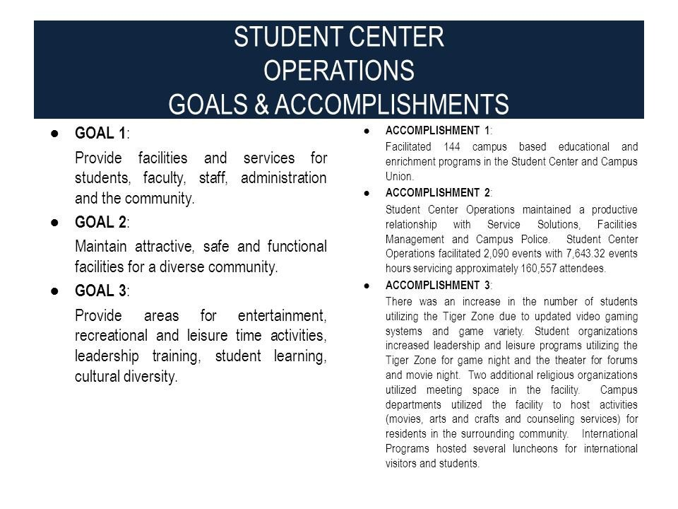 Goals and Accomplishments Template Jackson State University Division Of Student Life Ppt