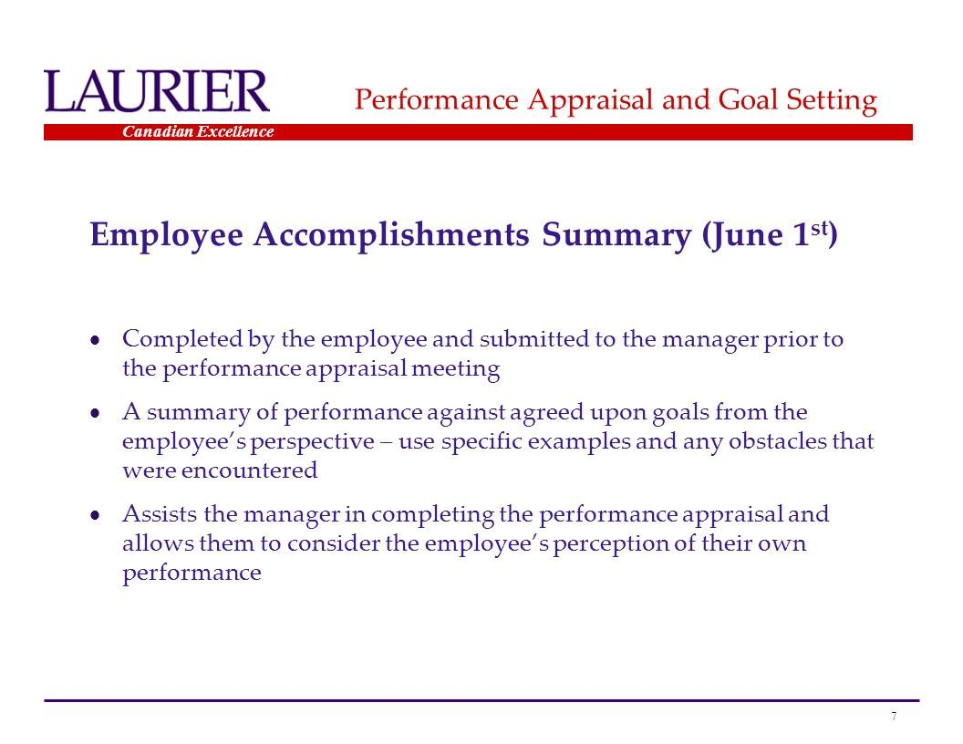 Goals and Accomplishments Template Performance Appraisal Ppt