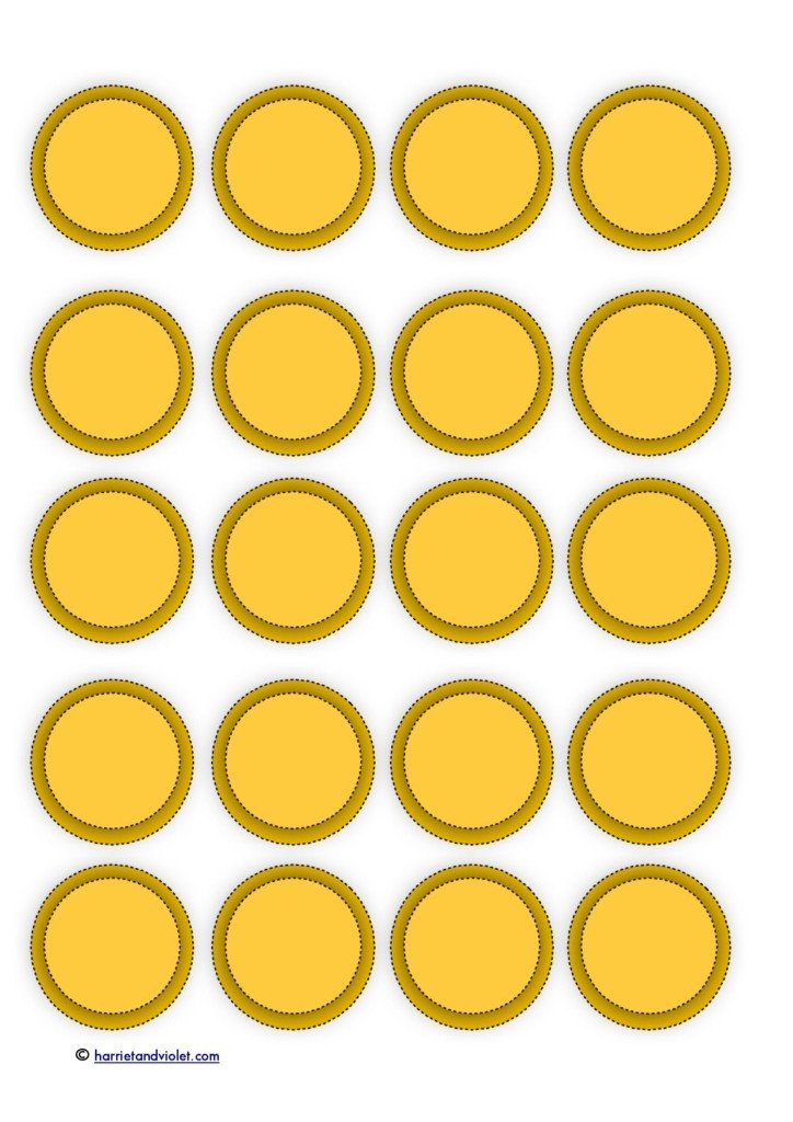 Gold Coin Template Printable Pirate Page 1 Free Teaching Resources Harriet Violet
