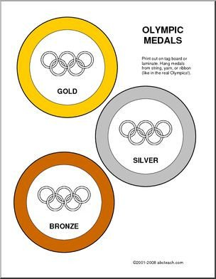 Gold Medal Printable Award Olympic Medals Gold Silver and Bronze Colored