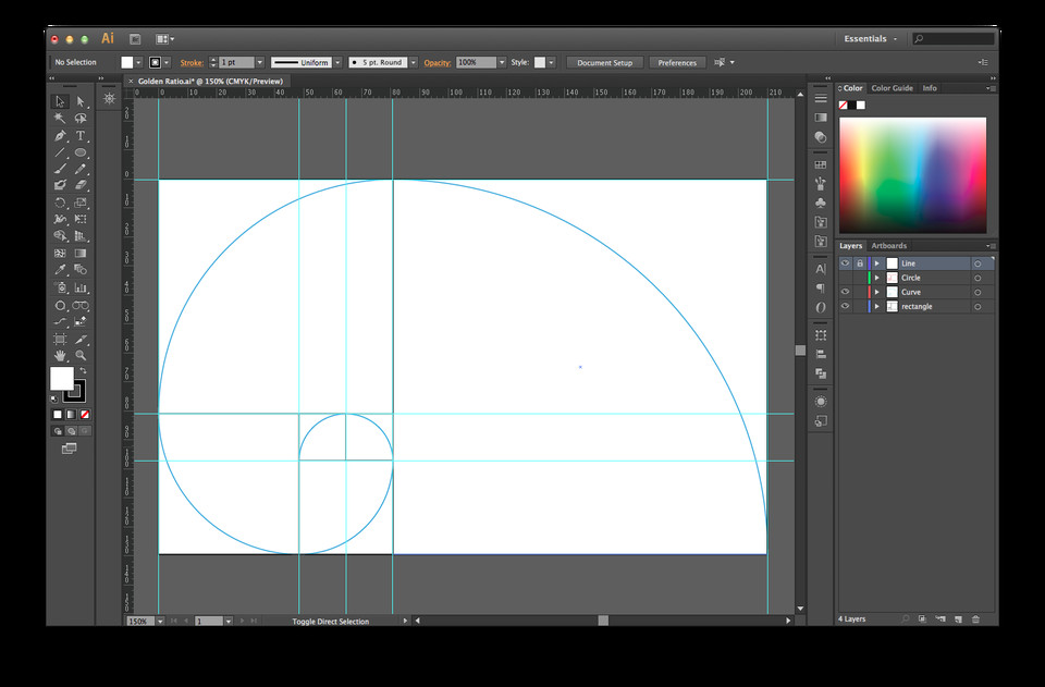 Golden Ratio Design Template Golden Ratio Illustrator Template