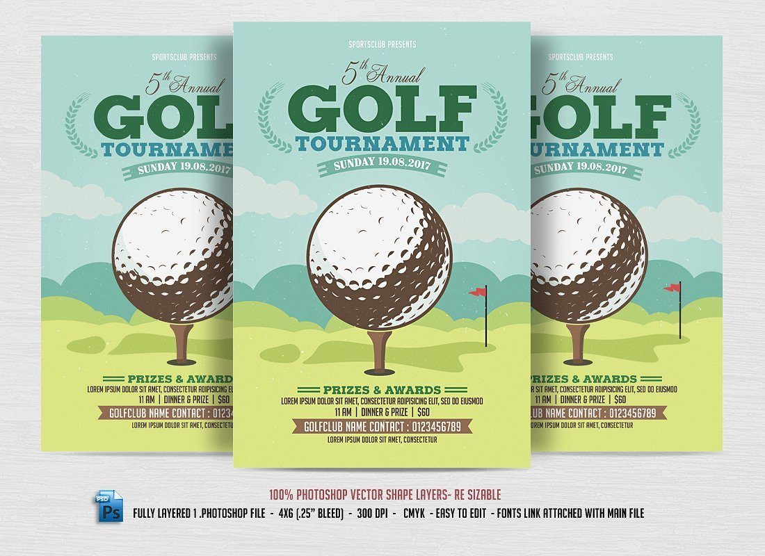 Golf tournament Flyer Template 24 Sports event Flyers Templates Word Ai Psd Apple