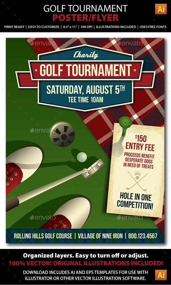 Golf tournament Flyer Template Golf tournament event Poster or Flyer Sports events