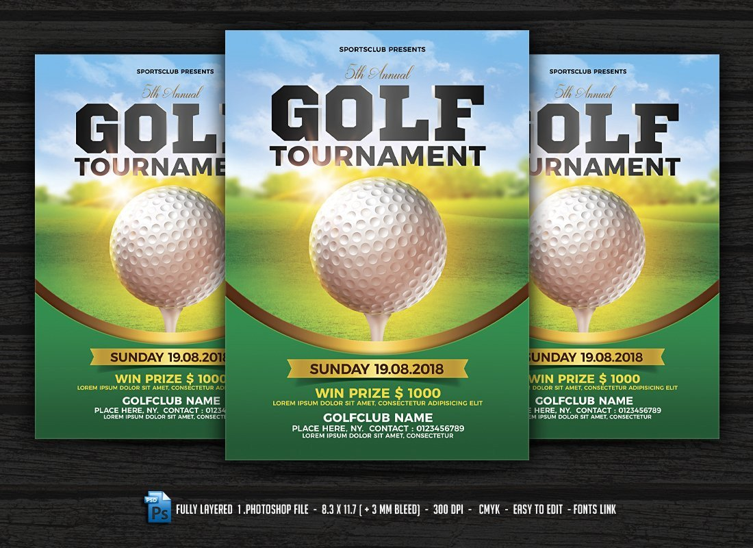 Golf tournament Flyer Template Golf tournament Flyer Flyer Templates Creative Market