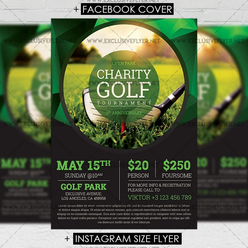 Golf tournament Flyer Templates Golf tournament – Premium A5 Flyer Template