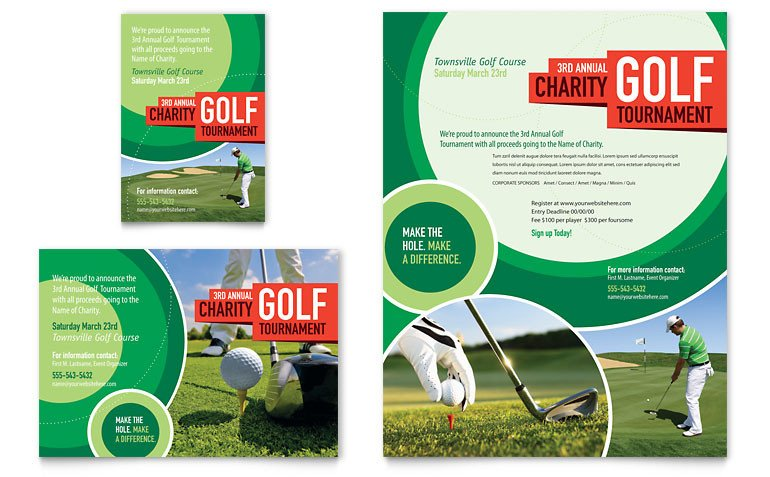 Golf tournament Flyers Template Golf tournament Flyer & Ad Template Word & Publisher