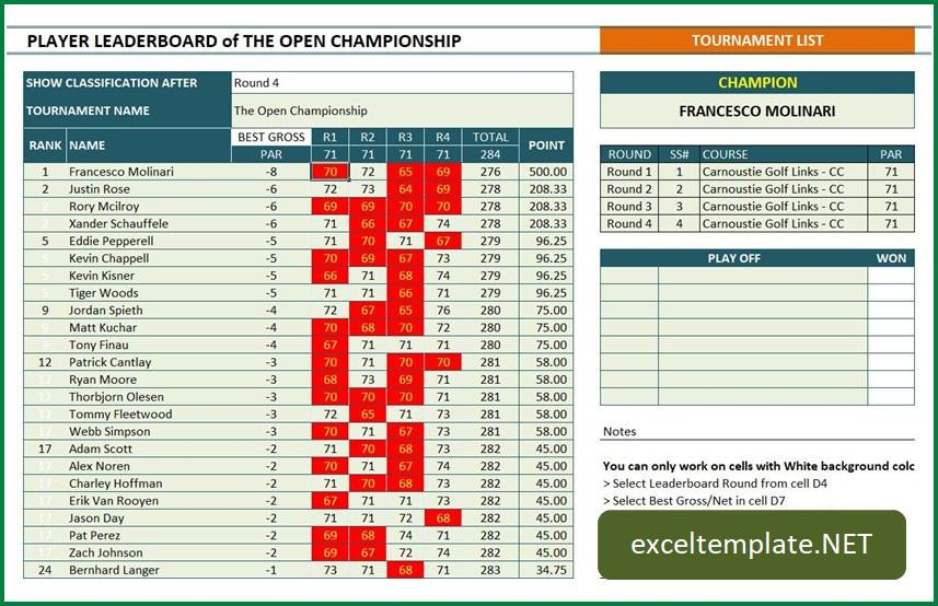 Golf tournament Template Excel Golf tournament Manager and Tracker
