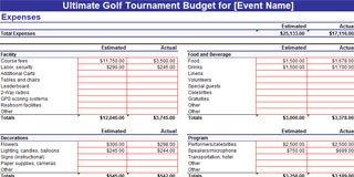 Golf tournament Template Excel Golf tournament Planning