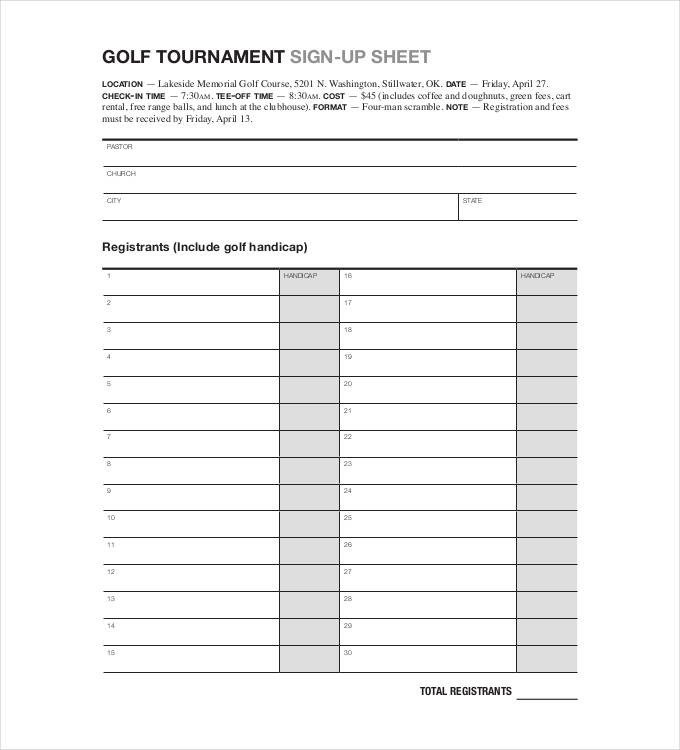 Golf tournament Template Excel Sign Up Sheets 58 Free Word Excel Pdf Documents