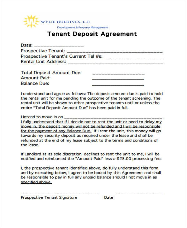 Good Faith Contract Template 11 Deposit Agreement Templates Pdf Word
