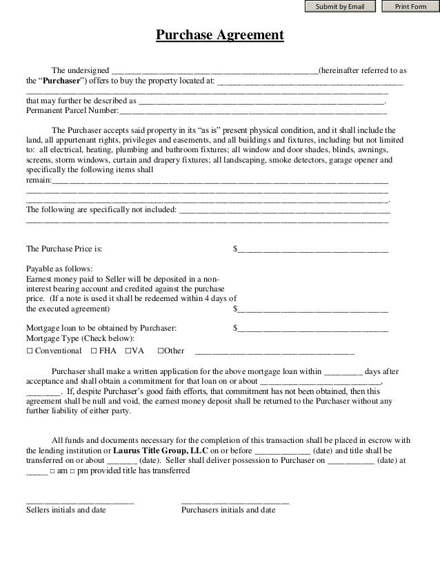 Good Faith Contract Template Purchase Agreement Laurus Title Group