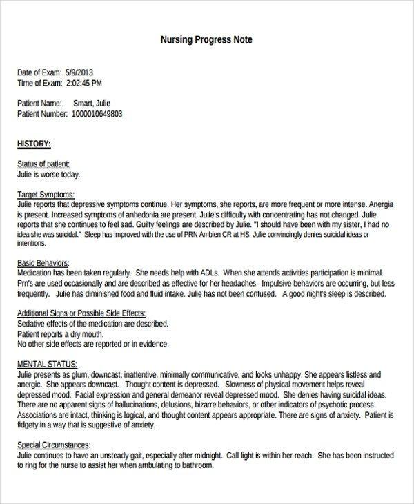 Good Nursing Notes Examples 6 Nursing Note Templates Free Samples Examples format