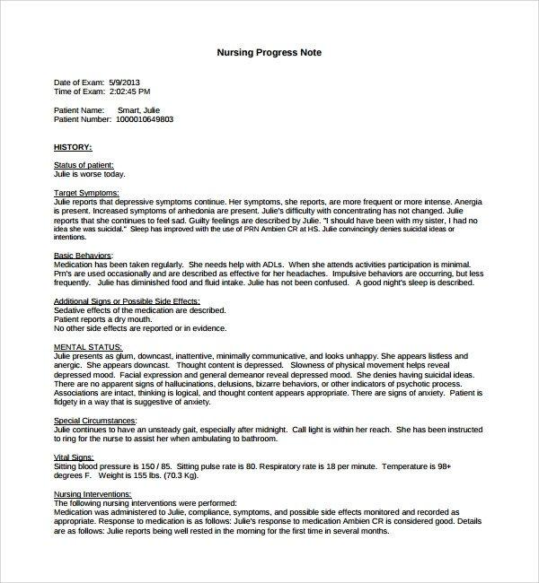 Good Nursing Notes Examples 8 Nursing Note Templates Pdf