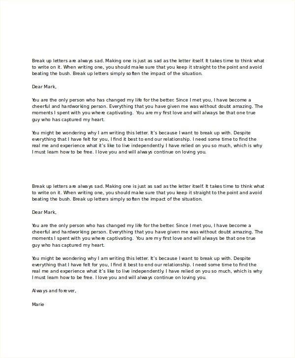 Goodbye Break Up Letter Break Up Letter Template 5 Free Word Pdf Document