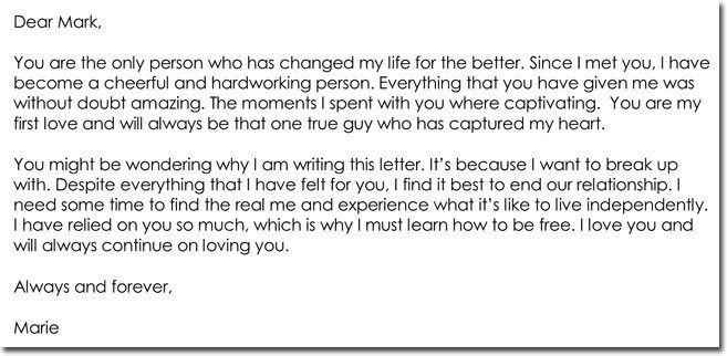 Goodbye Break Up Letter Break Up Letter Templates 8 Samples for Boyfriend