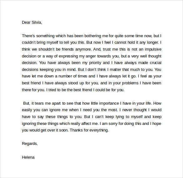Goodbye Break Up Letter Sample Breakup Letter 9 Documents In Pdf Word
