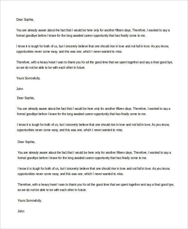 Goodbye Break Up Letter Sample Goodbye Letter 8 Examples In Word Pdf