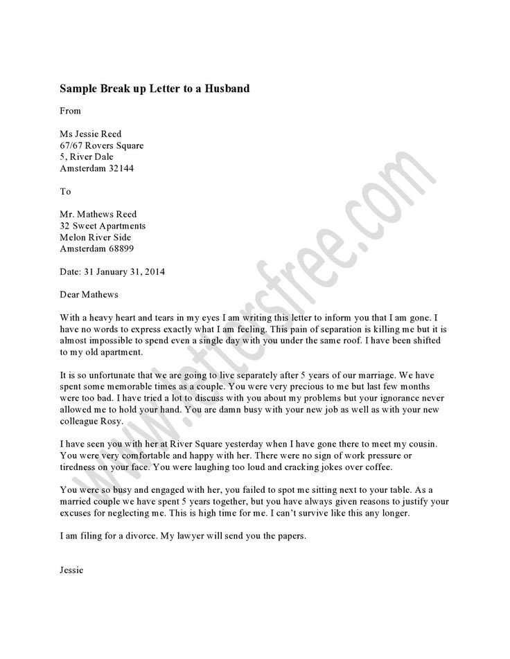 Goodbye Break Up Letter Writing A Breakup Letter to Your Husband is the Most