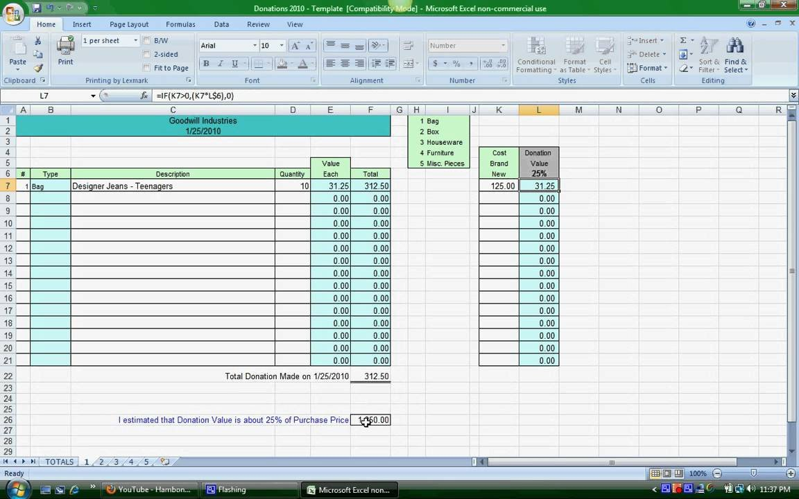 Goodwill Donation Excel Spreadsheet Donation Spreadsheet Instructions