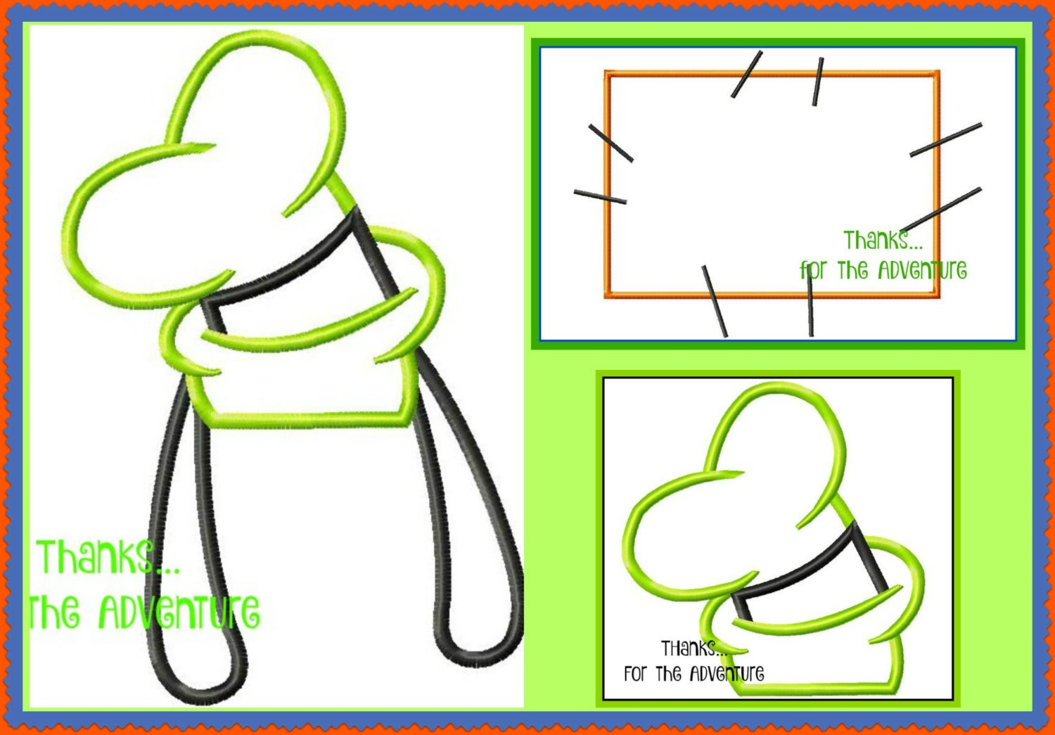 Goofy Hat Template Goofy Ears Hat and Patch Three Pack Digital Embroidery