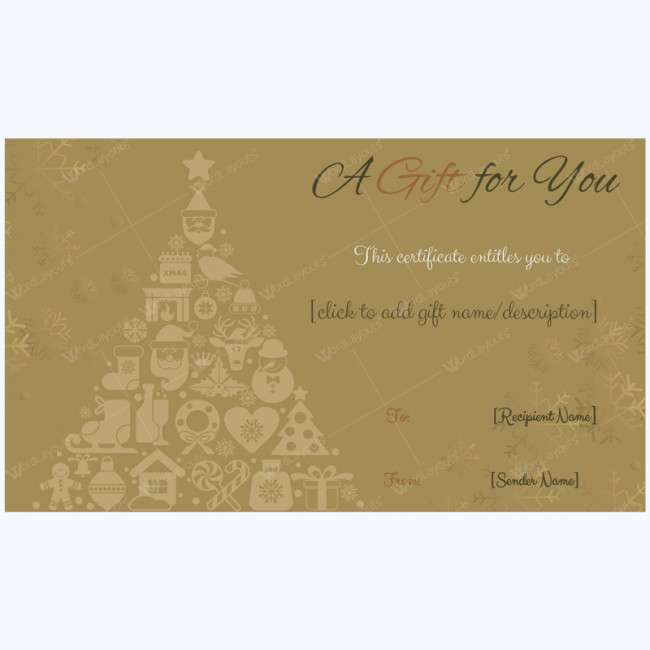 Google Doc Certificate Template Golden Trees Christmas Gift Card Template Word Layouts
