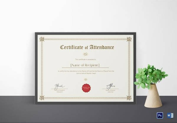 Google Docs Certificate Template 16 attendance Certificate Template Download Free