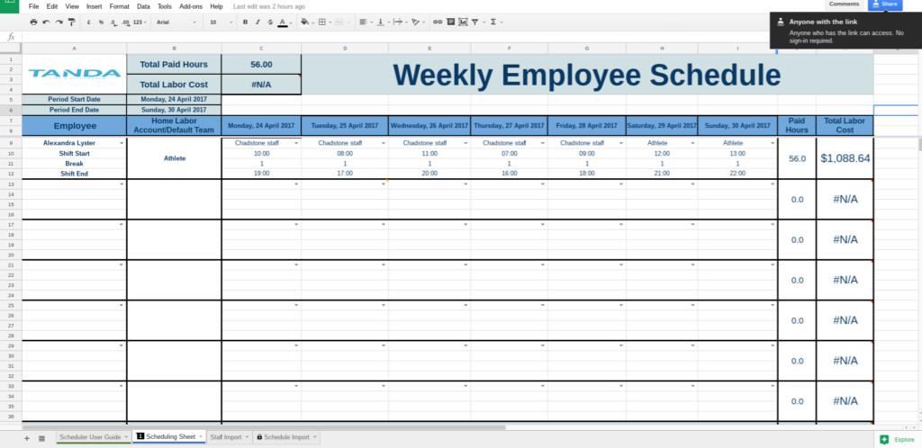 Google Docs Employee Schedule Template Employee Schedule Template Google Docs
