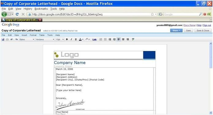 Google Docs Letterhead Template Google Writer Docs Web 2 0 tools New Possibilities