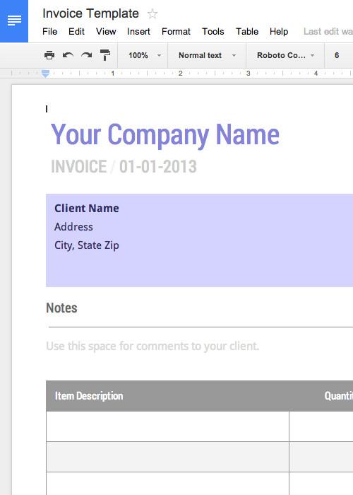 Google Docs Templates Invoice Blank Invoice Template Free for Google Docs